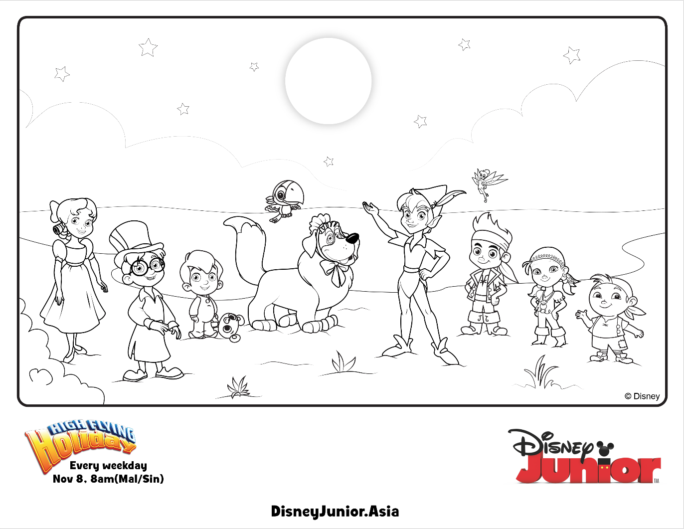 Coloring pages for jake and the neverland pirates - Jake And The Never Land Pirates Group Colouring Page