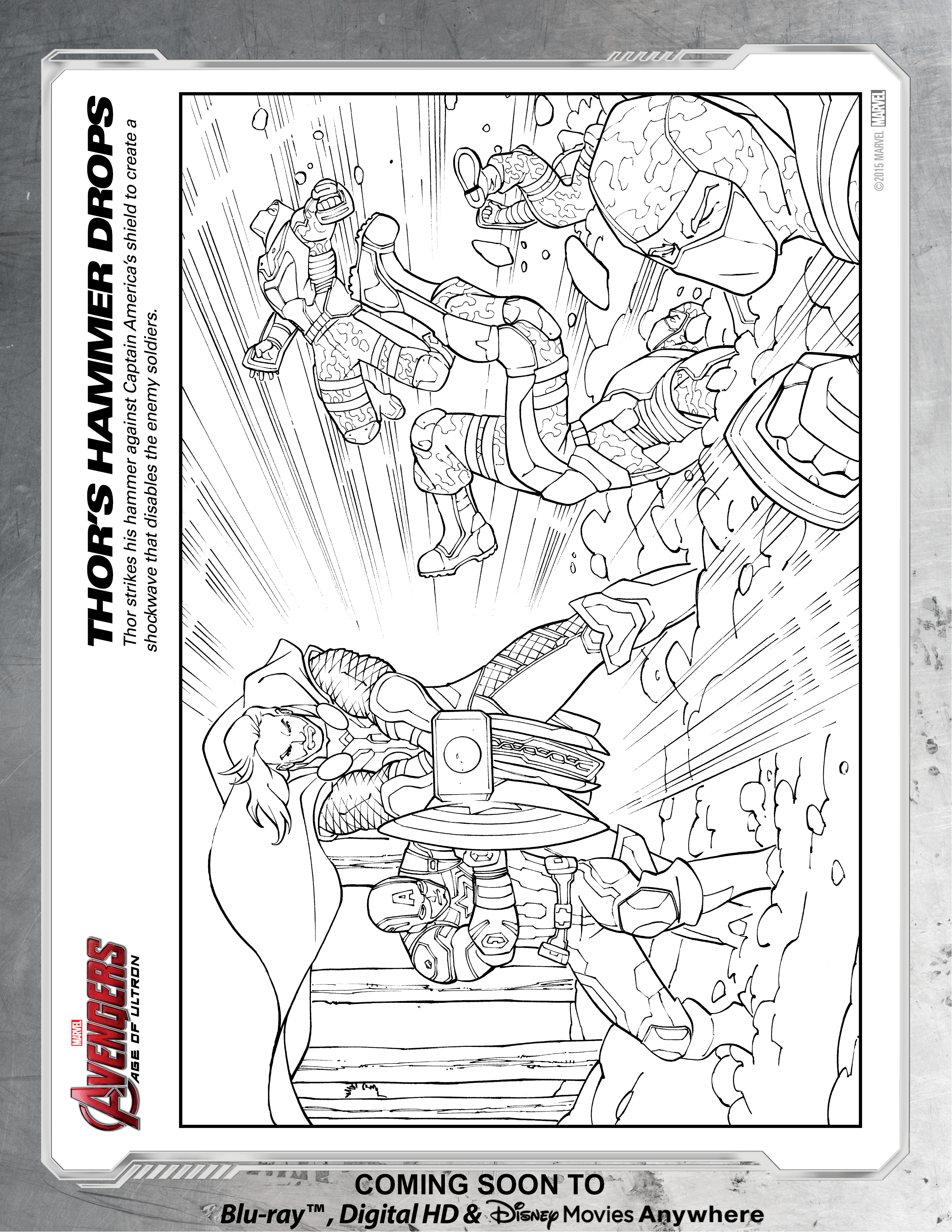 Avengers Thor\'s Hammer Coloring Page | Disney Movies