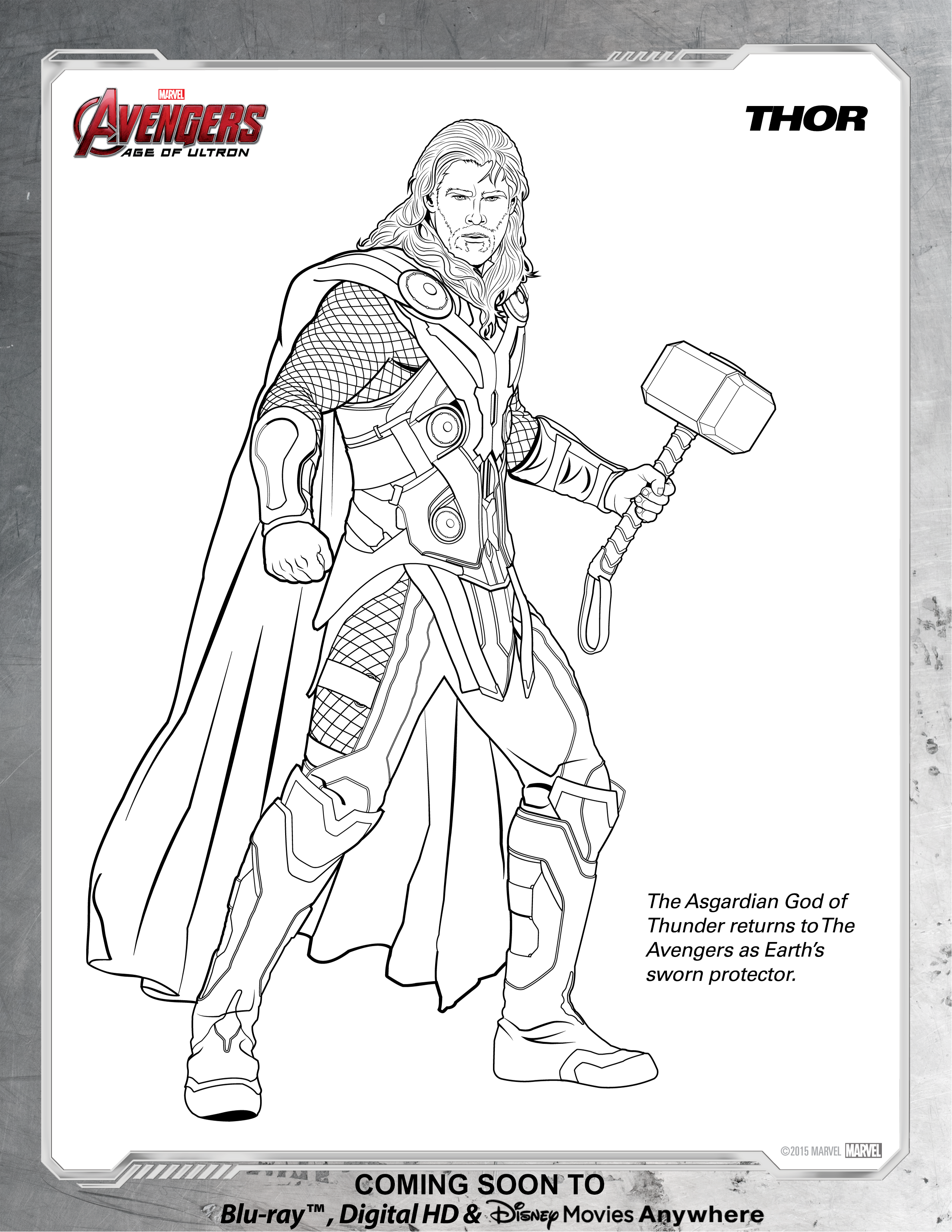 Avengers Thor Coloring Page | Disney Movies