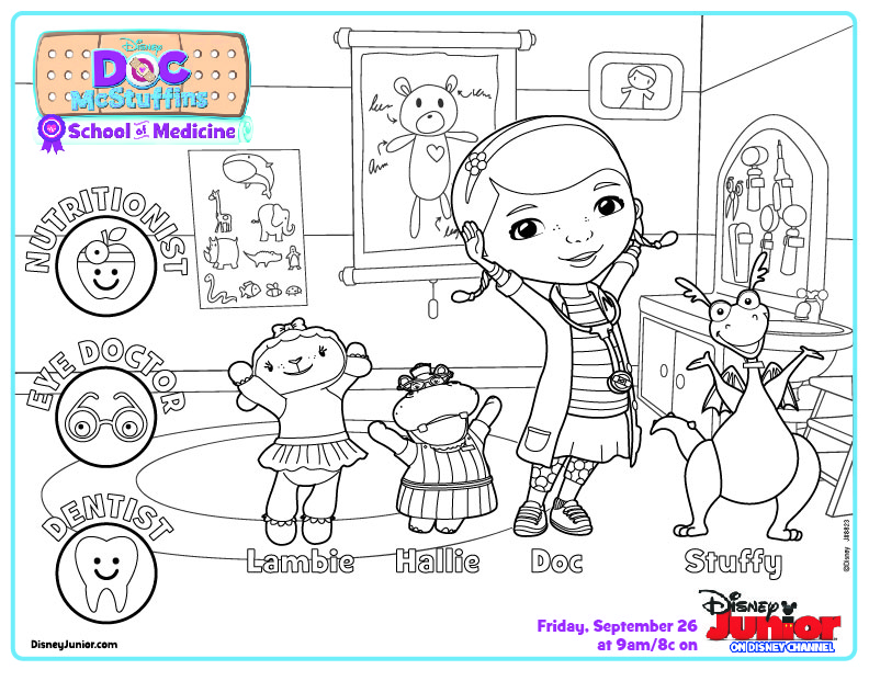 Doc McStuffins School of Medicine Coloring Page  Disney Junior