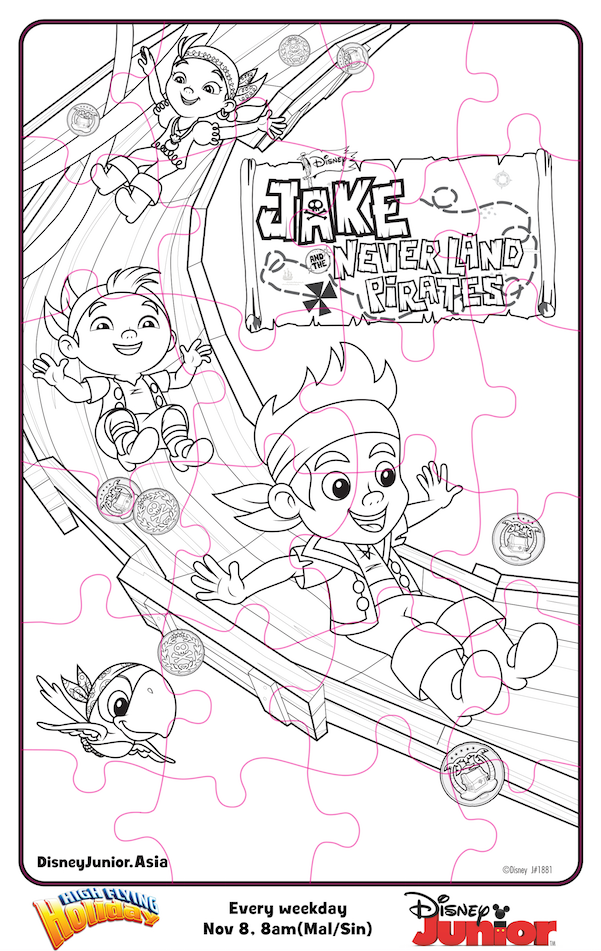 Disney Junior Coloring Pages Jake : Jake and the never land pirates puzzle colouring page