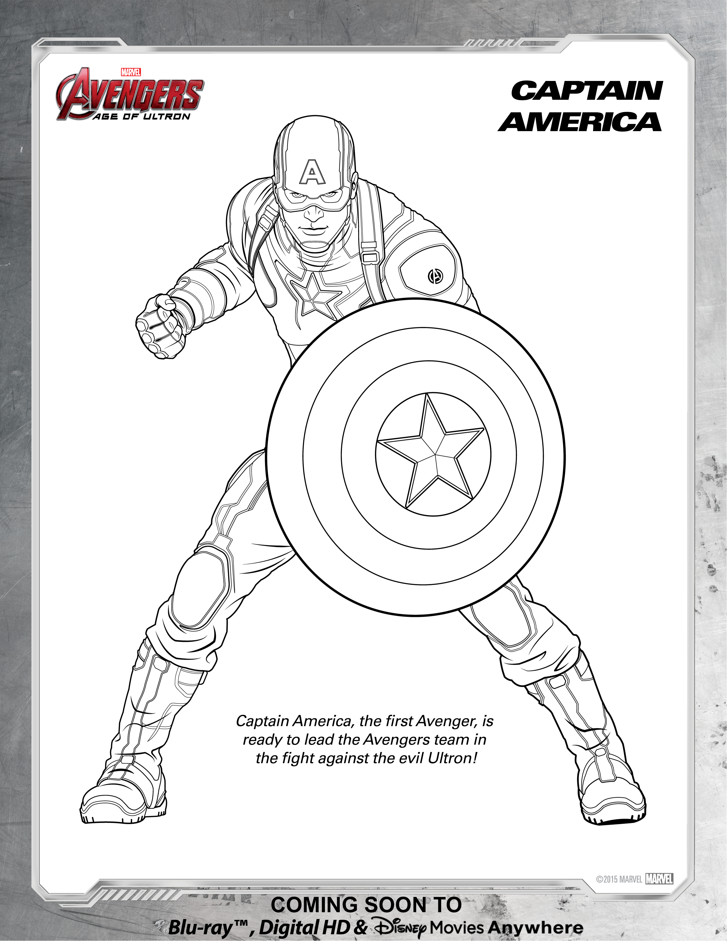 Avengers Captain America Coloring Page | Disney Movies
