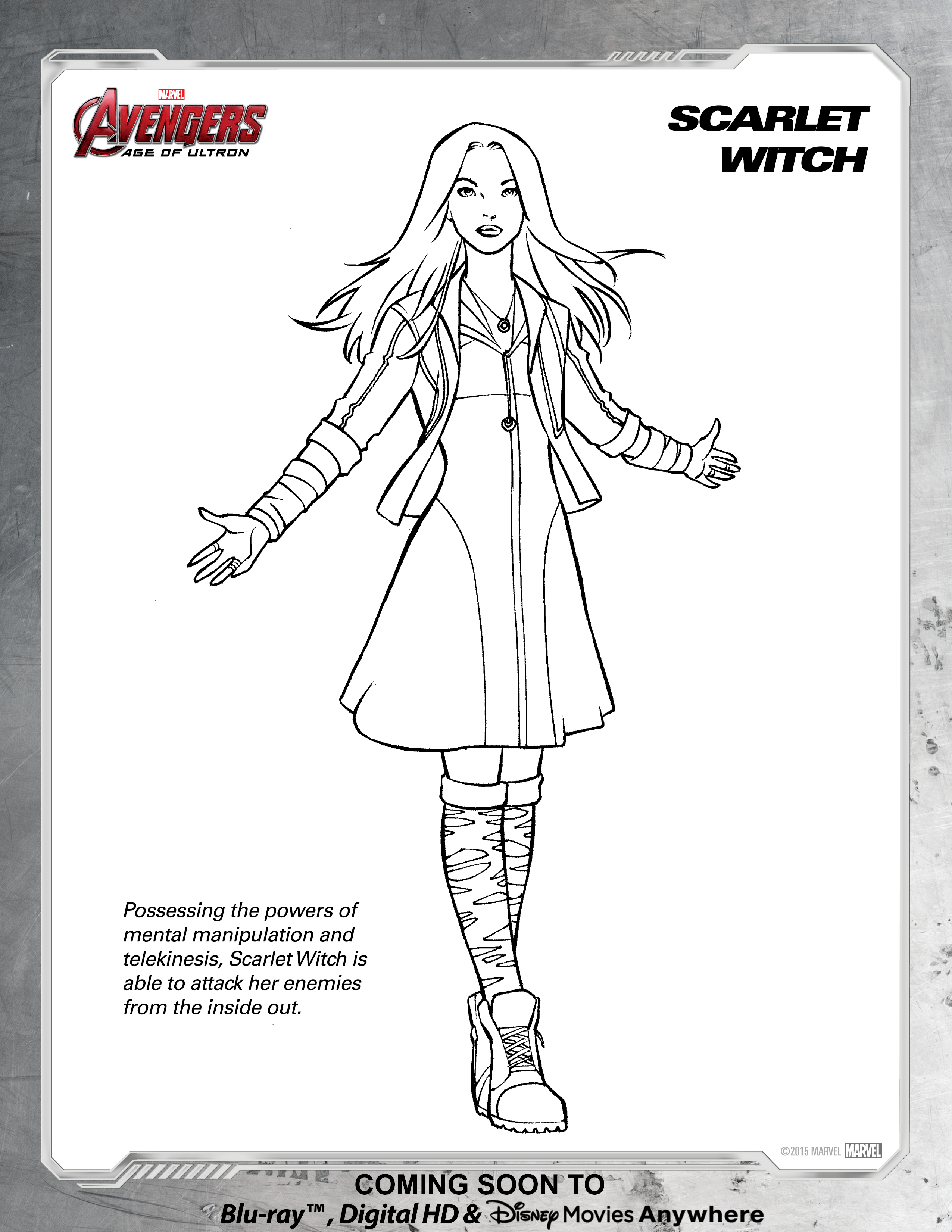 Avengers Scarlet Witch Coloring Page | Disney Movies